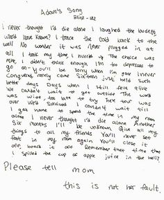 adams song / blink This song was written by Blink 182 for a fan of theirs that commited suicide Adams Song Blink 182, Blink 182 Lyrics, I Love Music, Music Is Life, Good Music, Band Quotes, Lyric Quotes, Emo Quotes, Smile Quotes