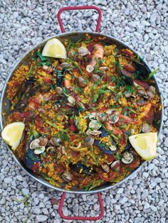 As a young boy, the idea of meat and fish together in one dish never made sense to me. But once I tried paella the combination of textures and smoky flavours completely won me over. It's one harmonious, exciting, stomach-pleasing smasher of a dish. Some locals will say you don't add chorizo, but because I love it, I'm adding it here. You can pick up a proper paella pan (like the one inthe picture) at most department stores, but a large shallow pan about 30cm across will also work a…
