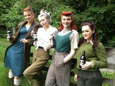 Vintage 1940s Landgirls sipping Delicious organic beers, Ales and lager from Black Isle Brewery in anticipation of Jocktoberfest 2013 near Inverness :)
