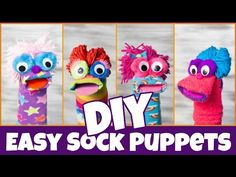 This is a fast and easy project that people of all ages can enjoy. Puppets are great entertainment! Make these with your kids or for your kids--maybe even fo. Toddler Fun, Toddler Activities, How To Make Socks, Puppets For Kids, Felt Monster, Polymer Clay Kawaii, Softie Pattern, Sock Puppets, Diy For Kids