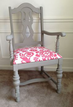 Vintage Gray Wood Chair with Coral Seat - different shade of coral or possibly mint but this would work! Recycled Furniture, Painted Furniture, Vintage Furniture, Furniture Makeover, Home Furniture, Furniture Ideas, Office Furniture, Room Chairs, Dining Chairs