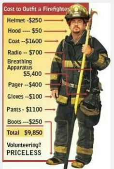 Cost to Outfit a Firefighter #Priceless #VolunteerFirefighter