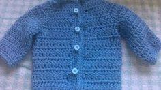 Easy to crochet baby cardigan (video 2) / baby sweater chambrita en crochet, via YouTube.