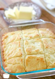 Butter Dip Buttermilk Biscuits recipe, no biscuit cutters, in a square Puree baking dish with sliced butter