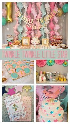Twinkle Twinkle Little Star First Birthday - Pretty My Party #star #firstbirthday #partyideas