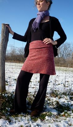 Sweater Skirt in Italian Wool Knit with Mohair - shown in Rose Gray - Made to Order. $95.00, via Etsy.