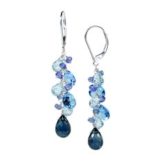 14k White Gold Multicolored Swiss/Sky/London Topaz and Tanzanite Earrings