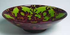Large bowl green with red lustre