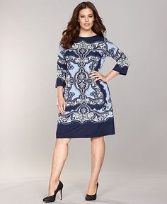 INC International Concepts Plus Size Dress, Three-Quarter-Sleeve Printed Shift - Plus Size Dresses - Plus Sizes - Macy's