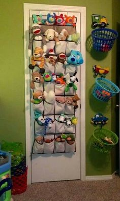 Hang laundry baskets on hooks on the walls to store stuffed animals