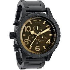 Nixon 51-30 Chrono Watch - Men'sMatte Black/Orange Tint