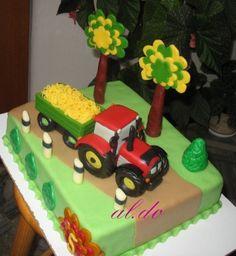 Tractor cake By aldoska on CakeCentral.com Rodjendanske Torte, Farm Cake, Cakes For Boys, Boy Cakes, Birthday Cake Girls, Birthday Cakes, Fondant Icing, Cake Board, Love Cake