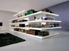 Открыть отдельностоящий деревянный и стеклянный bookcase воздуха | Открытый книжный шкаф - Лаго