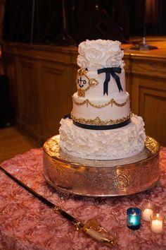 #navy #wedding cake signature cakes by vicki #nashville blue and gold