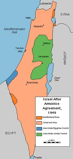 Map Of Israel After The 1949 Armistice Agreement Jewish Virtual Li Ry