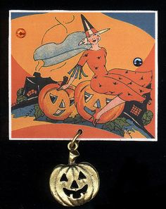 vintage Halloween- deco witch with jack o lanterns