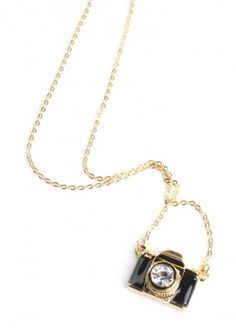 Take a Picture Necklace In Black $14.00
