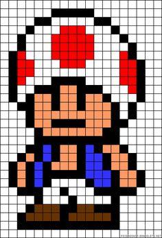 Toad Mario perler bead pattern