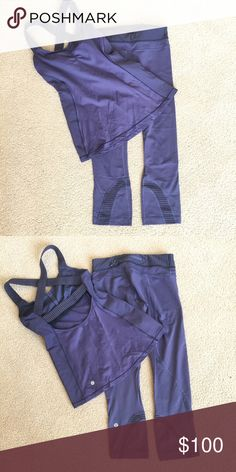 Lululemon Inspire Crop and tank with shelf bra Super cute inspire crops with light mesh on calves. Criss cross shelf bra matching crop showing off your back. Sold separately as well. lululemon athletica Other