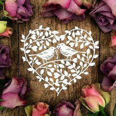 Papercut Template Floral Heart Wreath Love Birds Valentines Wedding Card Making PDF JPEG for handcutting & SVG for Cutting Machines Paper Art, Paper Crafts, Diy Crafts, Paper Cutting Templates, Heart Wreath, Paper Birds, Silhouette America, Silhouette Cameo, Making Ideas