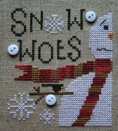 Heart in Hand's Snow Woes done on 40 count linen Cross Stitch Christmas Ornaments, Xmas Cross Stitch, Just Cross Stitch, Simple Cross Stitch, Cross Stitch Samplers, Christmas Embroidery, Christmas Cross, Cross Stitching, Cross Stitch Embroidery