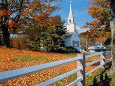 Church In Fall Splendor New England