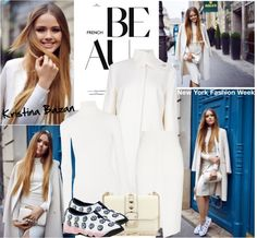 """New York Fashion Week-Street Style: Kristina Bazan"" by helenevlacho ❤ liked on Polyvore"