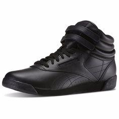 Reebok - Girls' Freestyle Hi Leather Sneaker (Big Kid) - Black