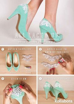 Great ideas to customize your shoes - all DIY projects. Some cute ideas for adding chains and adding straps to stilettos! Love these boots