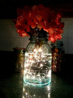 String lights placed in Mason Jar