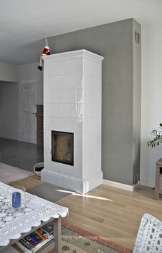 Stove Fireplace, Fireplace Design, Stove Paint, White Stove, Kitchen Stove, Stoves, Cottage, House Design, Living Room