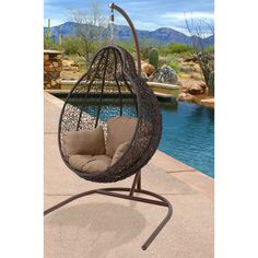 Hanover Outdoor Wicker Rattan Hanging Egg Chair Swing