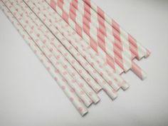 NEW 60 Baby Pink Stripe & Polka Dot Paper Straws - Parties, weddings, graduations  FREE DIY Flags