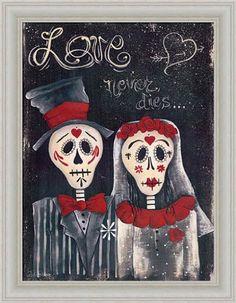 Love Never Dies by Jill Ankrom Sugar Skull Wedding Framed Art Print Picture Wall Décor #skulls #skullart more at http://skullclothing.net