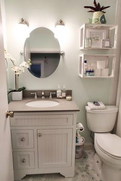 Growing weary of your outdated bathroom? We've got excellent DIY bathroom ideas to inspire your renovation plans. Whether you want a cottage farmhouse bathroom makeover, budget-friendly bathr… Spa Inspired Bathroom, Toilet Storage, Bathroom Storage, Bathroom Organization, Storage Organization, Bathroom Shelves, Bathroom Sinks, Remodel Bathroom, White Bathroom
