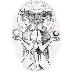 Cool Art Drawings, Art Drawings Sketches, Tattoo Drawings, Smal Tattoo, Gemini Art, Anime Tattoos, Family Tattoos, Zodiac Art, Tattoo Ideas