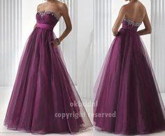 Purple prom dress, A line dress, crystal dress, cheap prom dresses, evening prom dress, RE073