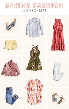 Spring Fashion Checklist. Kimono, pastel shorts, versatile dress, cotton button up, floral dress, slide sandals, colored jean jacket.