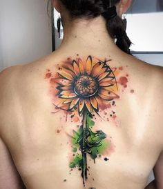 55 Amazing And Gorgeous Watercolor Tattoo Ideas You'll Love – Page 30 of 55 – Chic Hostess Sunflower tattoo – Fashion Tattoos Sunflower Tattoo Shoulder, Sunflower Tattoo Small, Sunflower Tattoos, Sunflower Tattoo Design, Sunflower Tattoo Sleeve, 4 Tattoo, Body Art Tattoos, New Tattoos, Sleeve Tattoos