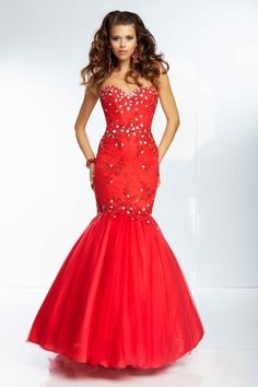 2014 Prom Dresses Mermaid Sweetheart Floor Length Tulle With Applique