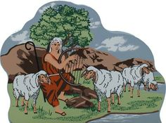 Young David the Shepherd - II Samuel 7:8-9   The Cat's Meow Village / Bible Story included on the back