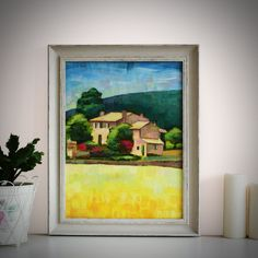 """Original Landscape Painting, """"Provence"""" Acrylic Painting, Landscape Art, Original Artwork, Wall Art Canvas, 30cm(w) x 40cm(h) by AngelinaRunkovaArt on Etsy"""