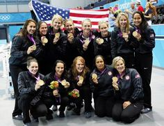 Girl Scout alumna Betsey Armstrong and the rest of the U.S. women's water polo team with their gold medals!
