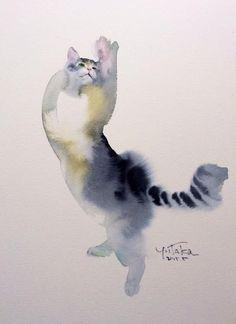 Ютака Мураками (Yutaka Murakami) — великолепный японский акварелист, работающий в технике рисования «по-мокрому» («по-сырому»). Эта техника считается одной из сложнейших при рисовании акварелью. У мастера множество интересных работ, но сегодня мы остановимся на том, что принесло ему наибольшую популярность: котах. Пушистых котах, изображённых на мокрой бумаге акварелью.