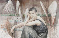Milan Tucovic Wartezimmer Aquarell 101x152 Salzburg, Schmuck Design, Gallery, Artist, Painting, Waiting Rooms, Concerts, Watercolour, Art