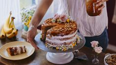 Recipe: Salted Caramel and Cream Cheese Banana Layer Cake — Video from Kitchn