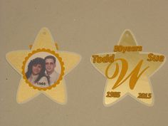 A double sided hanging decoration commemorating the anniversary couple.
