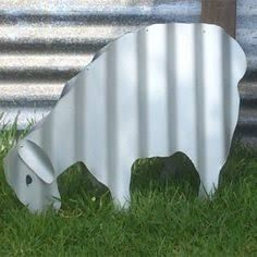 Image result for corrugated metal rooster on stand