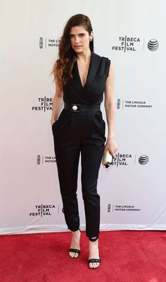 Lake Bell in a black Lanvin jumpsuit at the Tribeca Film Festival