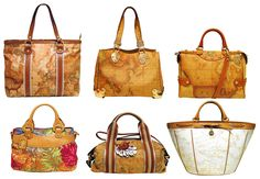 Alviero Martini's Bags Collection, the world famous geographical world map signature shoulder bags